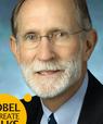 Nobelpristager Peter C. Agre lægger ud med et oplæg om sin vej mod nobelprisen og svarer derefter på spørgsmål fra deltagerne, når han skyder gang i Healths nye initiativ, Nobel Laureate Talks, den 21. april. Foto: Keith Weller, JHM